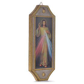 Divine Mercy shaped print on wood 18,5x7,5cm s2
