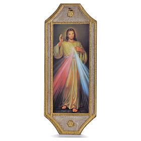 Cuadros, estampas y manuscritos iluminados: Tabla de madera perfilada Divina Misericordia 18,5 x 7,5 cm.