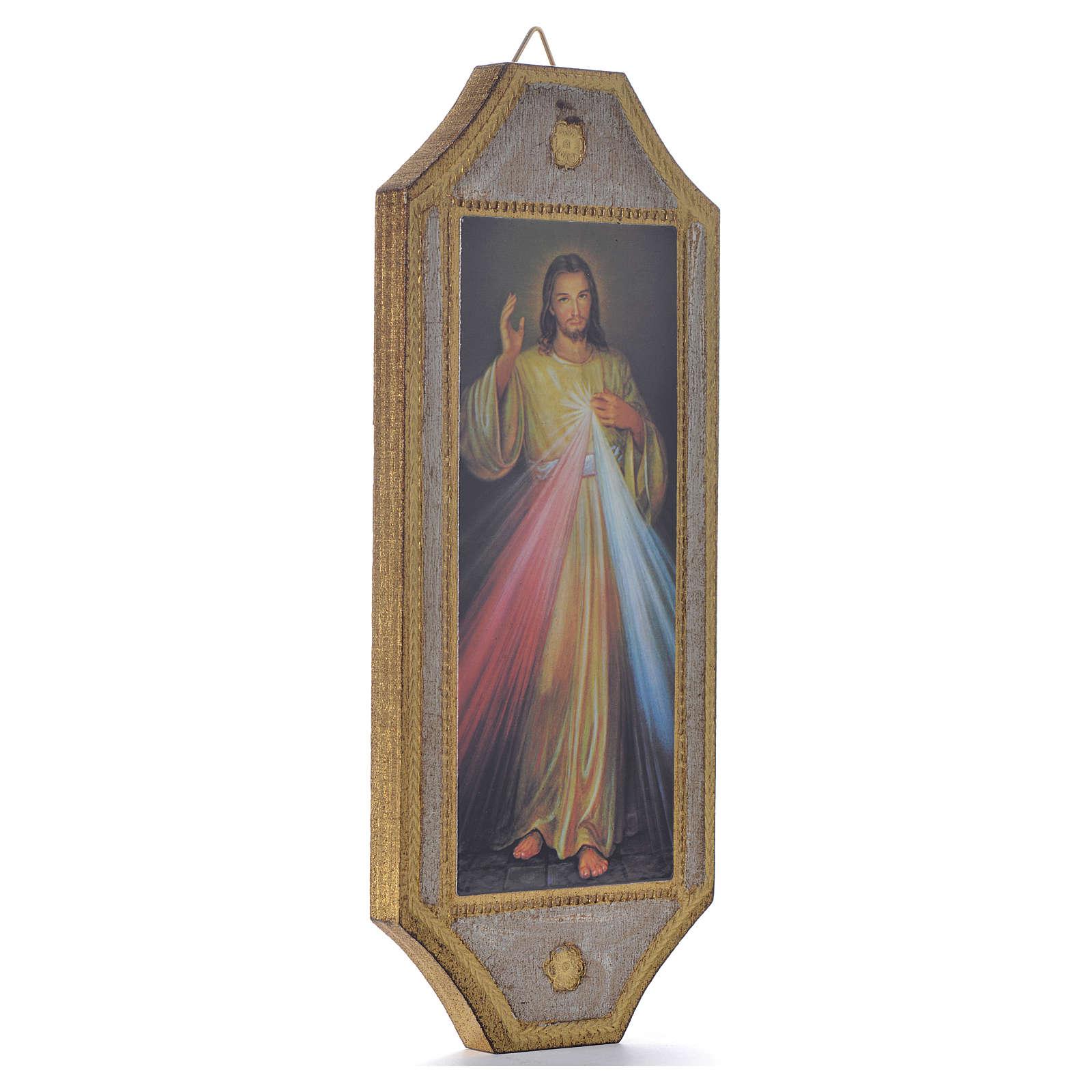 Tavola sagomata su legno Divina Misericordia 18,5x7,5 3