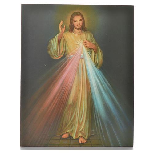 Impression sur planche bois Christ Miséricordieux 25x20cm 1