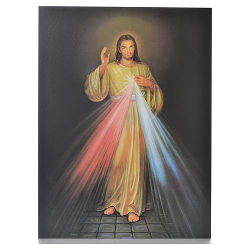 Impression sur planche bois Christ Miséricordieux 40x30cm 1