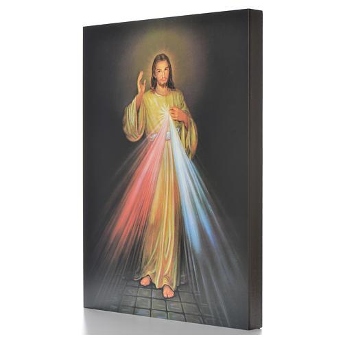 Impression sur planche bois Christ Miséricordieux 40x30cm 2