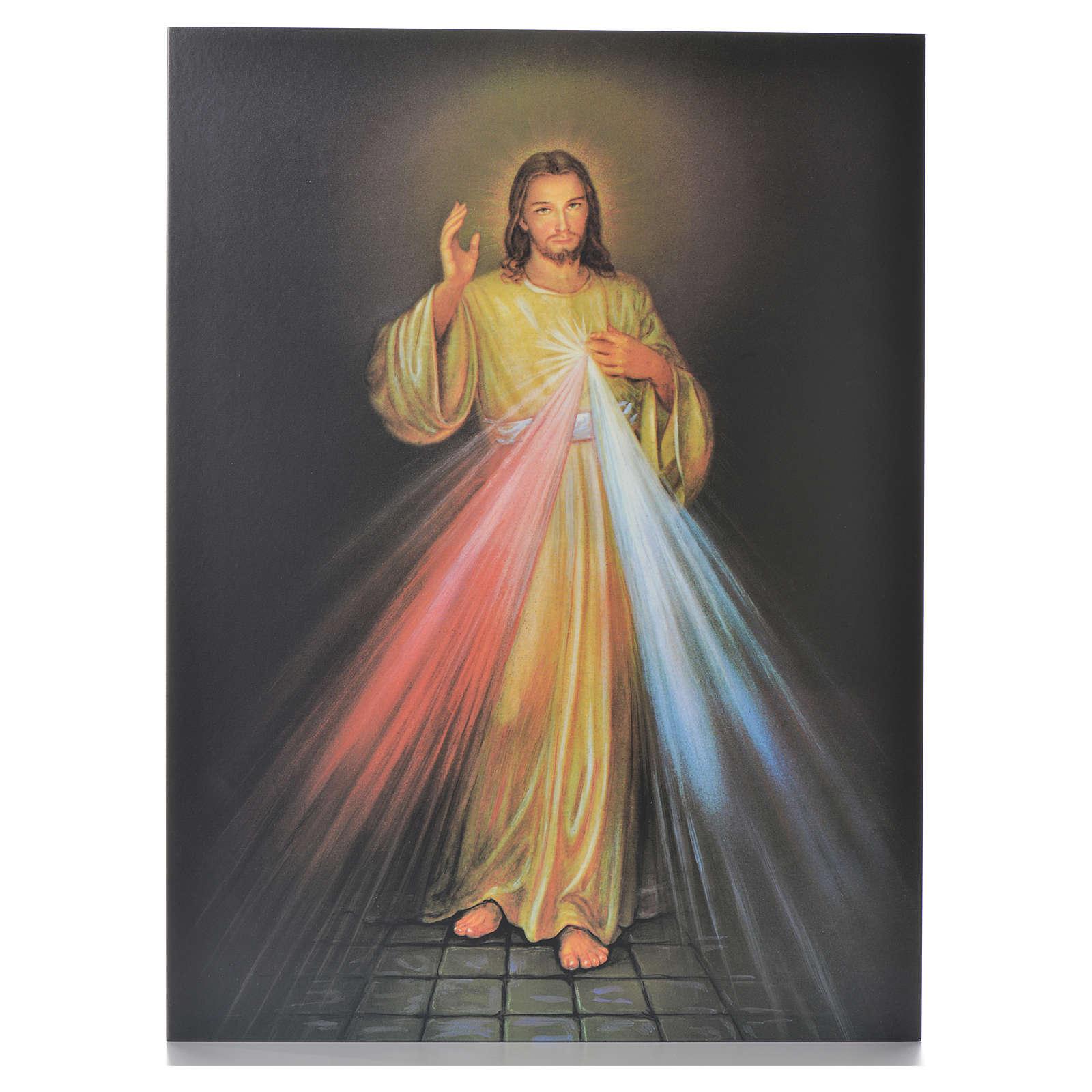 Druk na desce drewnianej Jezus Miłosierny 40 x 30cm 3