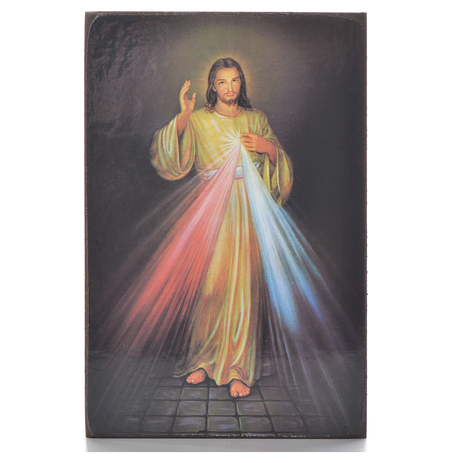 Divine Mercy black print on wood 15x10cm 3
