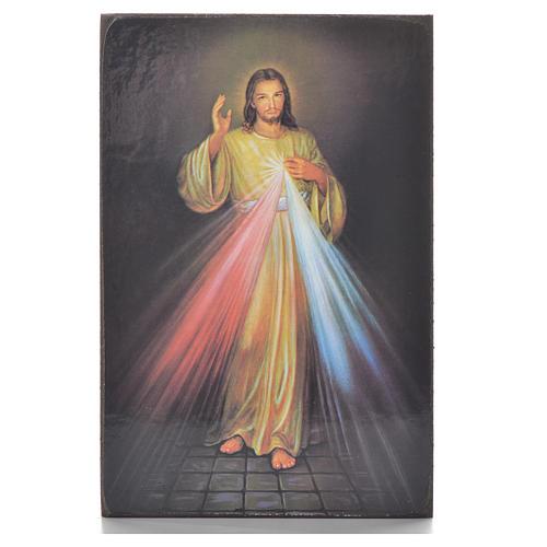 Divine Mercy black print on wood 15x10cm 1
