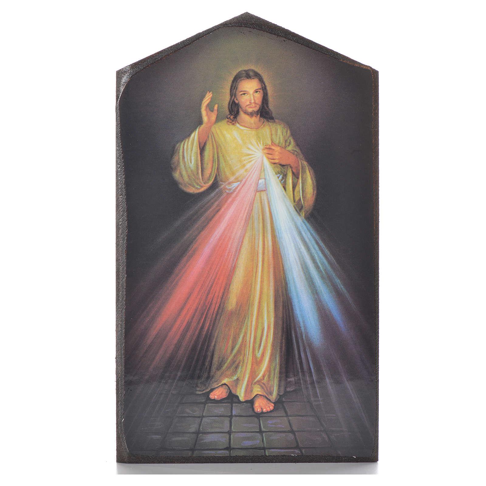 Divine Mercy shaped print on wood 15,5x9cm 3