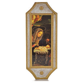 Paintings, printings, illuminated manuscripts: Adoration of Baby Jesus moulded board 18,5x7,5 cm