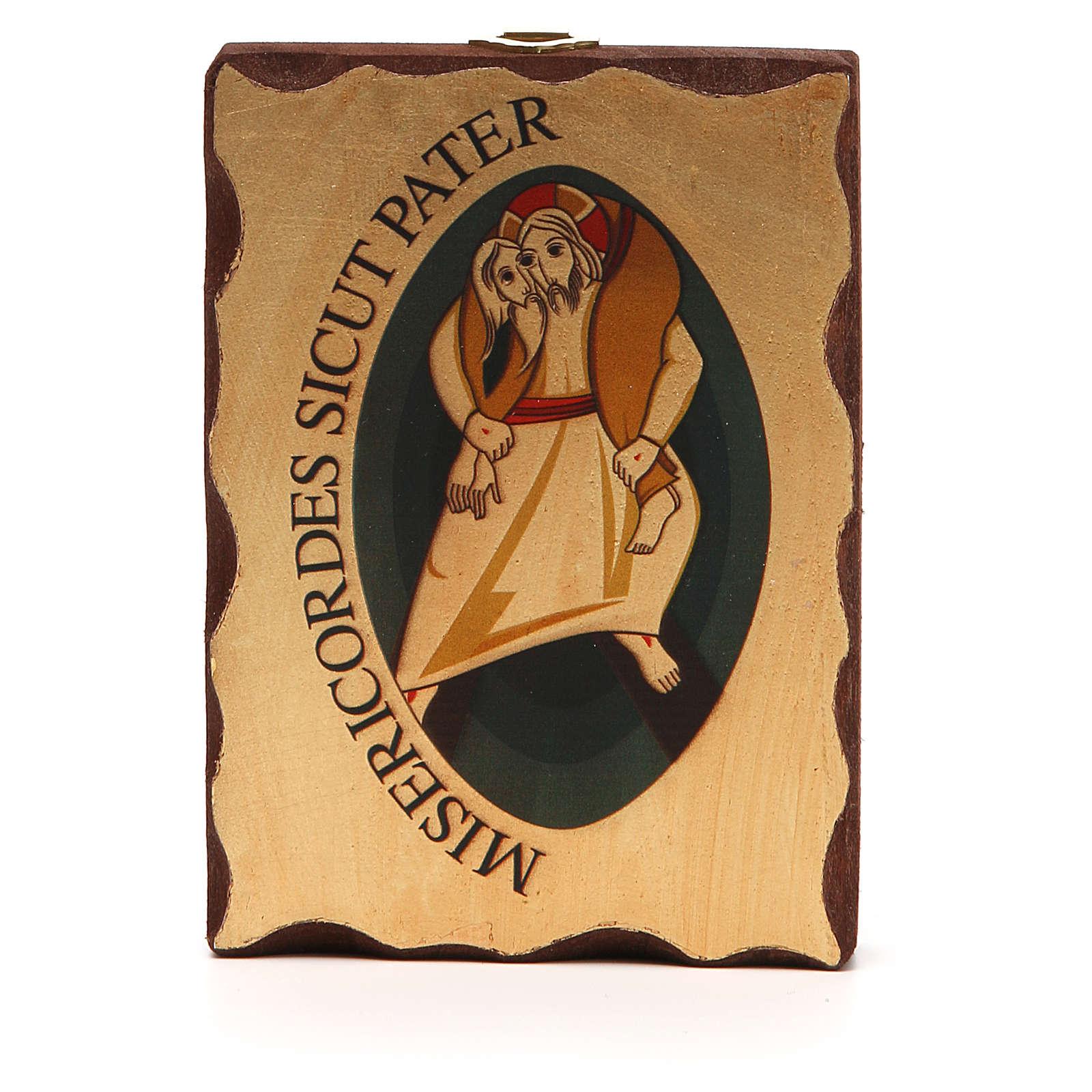 STOCK Ikona sitodruk logo Jubileuszu Miłosierdzia drewno 10x14 3
