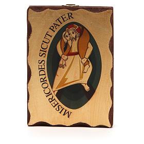 STOCK Ikona sitodruk logo Jubileuszu Miłosierdzia drewno 10x14 s1