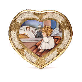 Paintings, printings, illuminated manuscripts: Angel on roof painting, white,heart shaped