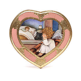 Paintings, printings, illuminated manuscripts: Angel on sky roof painting, pink, heart shaped