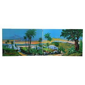 Paisagens, Cenários de Papel e Painéis para Presépio: Plano de fundo presépio díptico 200x60 cm madeira