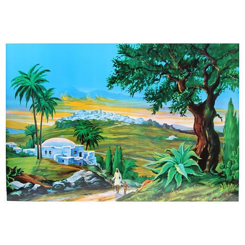 Toile de fond crèche bois paysage arabe 100x68cm 1