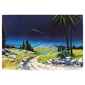 Toile de fond crèche bois comète 100x68cm s1