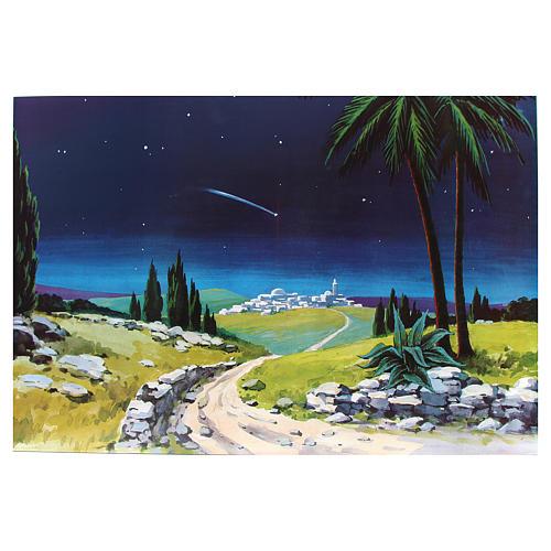 Toile de fond crèche bois comète 100x68cm 1