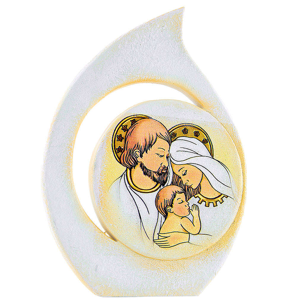 Painting Holy Family drop shaped 11cm 3