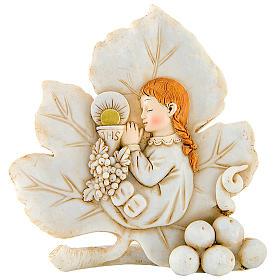 Bomboniera comunione Bambina foglia 8 cm s1