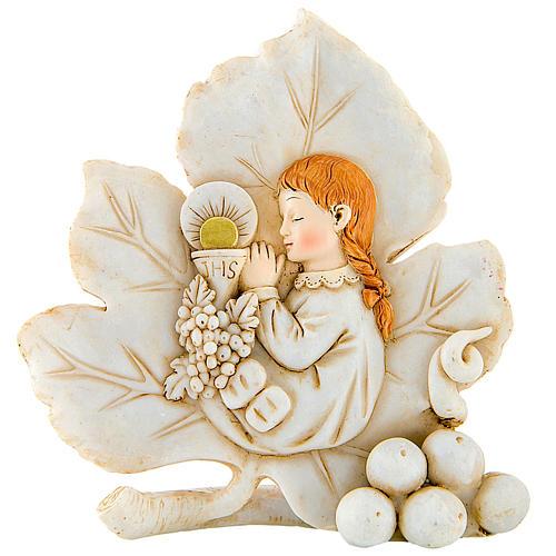 Bomboniera comunione Bambina foglia 8 cm 1