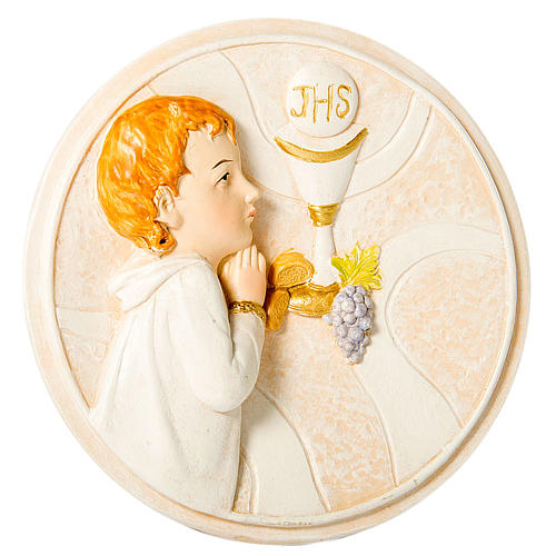 Round painting Boy First Communion 7cm 1