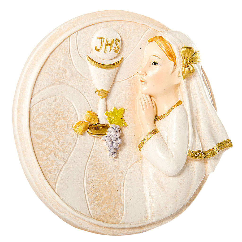Round painting Girl First Communion 7cm 3