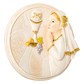 Round painting Girl First Communion 7cm s1
