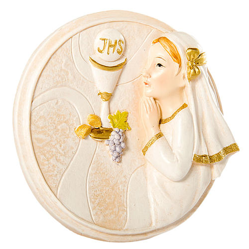 Round painting Girl First Communion 7cm 1
