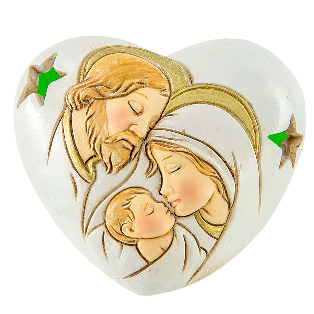 Heart with LED Holy Family 7cm 3