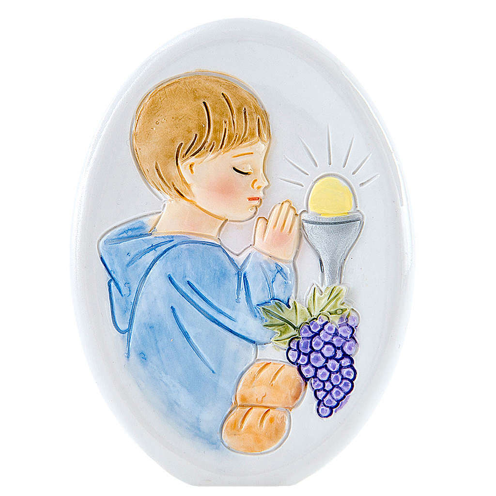 Painting Boy First Communion oval shaped 8cm 3