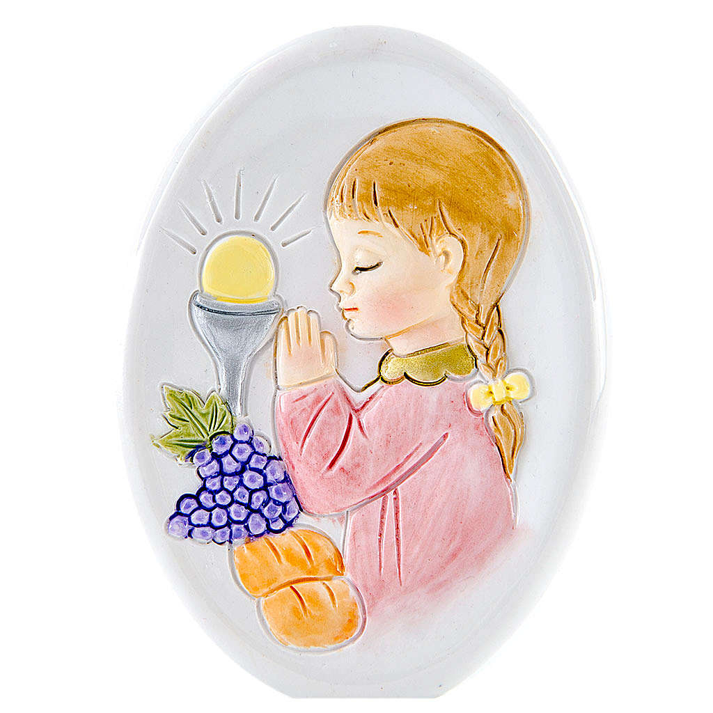 Lembrancinha Comunhão oval menina 8 cm 3