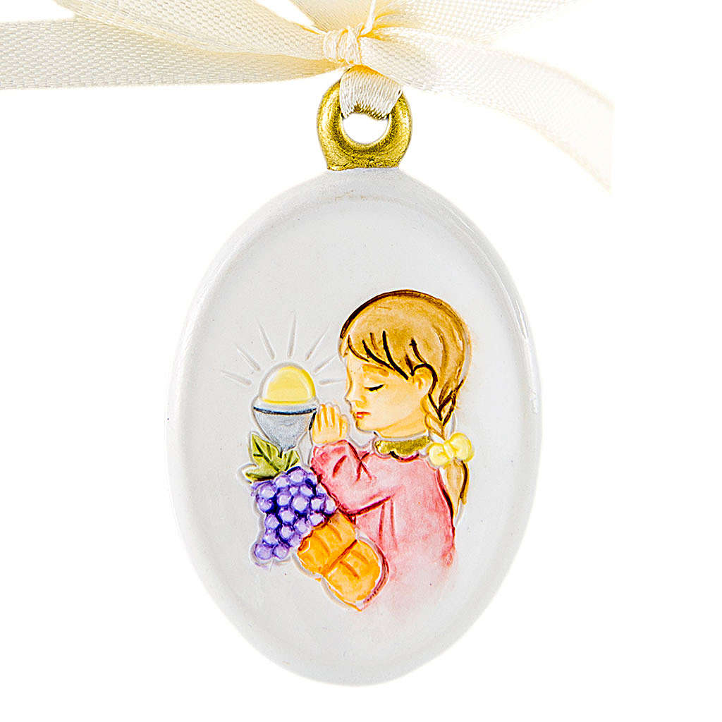 Pendant Girl First Communion oval shaped 6cm 3