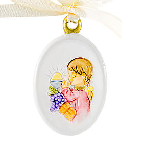 Pendant Girl First Communion oval shaped 6cm s1