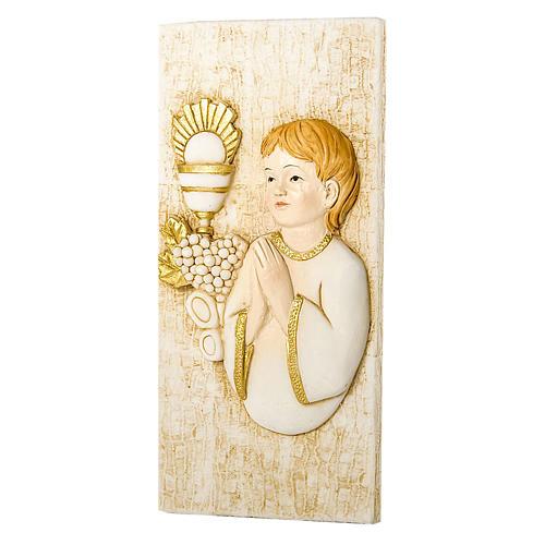 Small painting Boy First Communion rectangular shaped 5x10cm 1