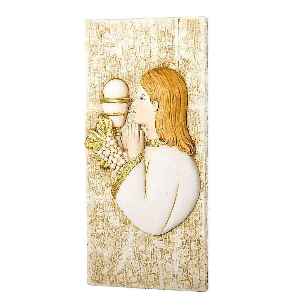 Small painting Girl First Communion rectangular shaped 5x10cm 3