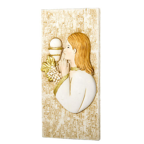 Small painting Girl First Communion rectangular shaped 5x10cm 1