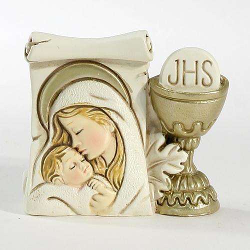 Ricordino Nascita Pergamena Calice e Maternità cm 6X5,5 1
