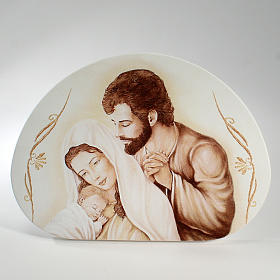 Painting Holy Family semioval shaped 15x21cm s1