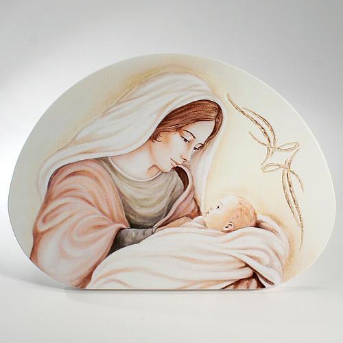 Ricordino Nascita Quadretto Semiovale Maternità 15x21 cm 1