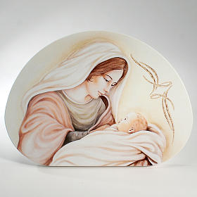 Ricordino Nascita Quadretto Semiovale Maternità 30x42 cm s1