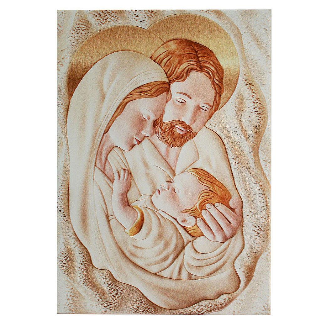 Painting Holy Family rectangular shaped 21x30cm 3