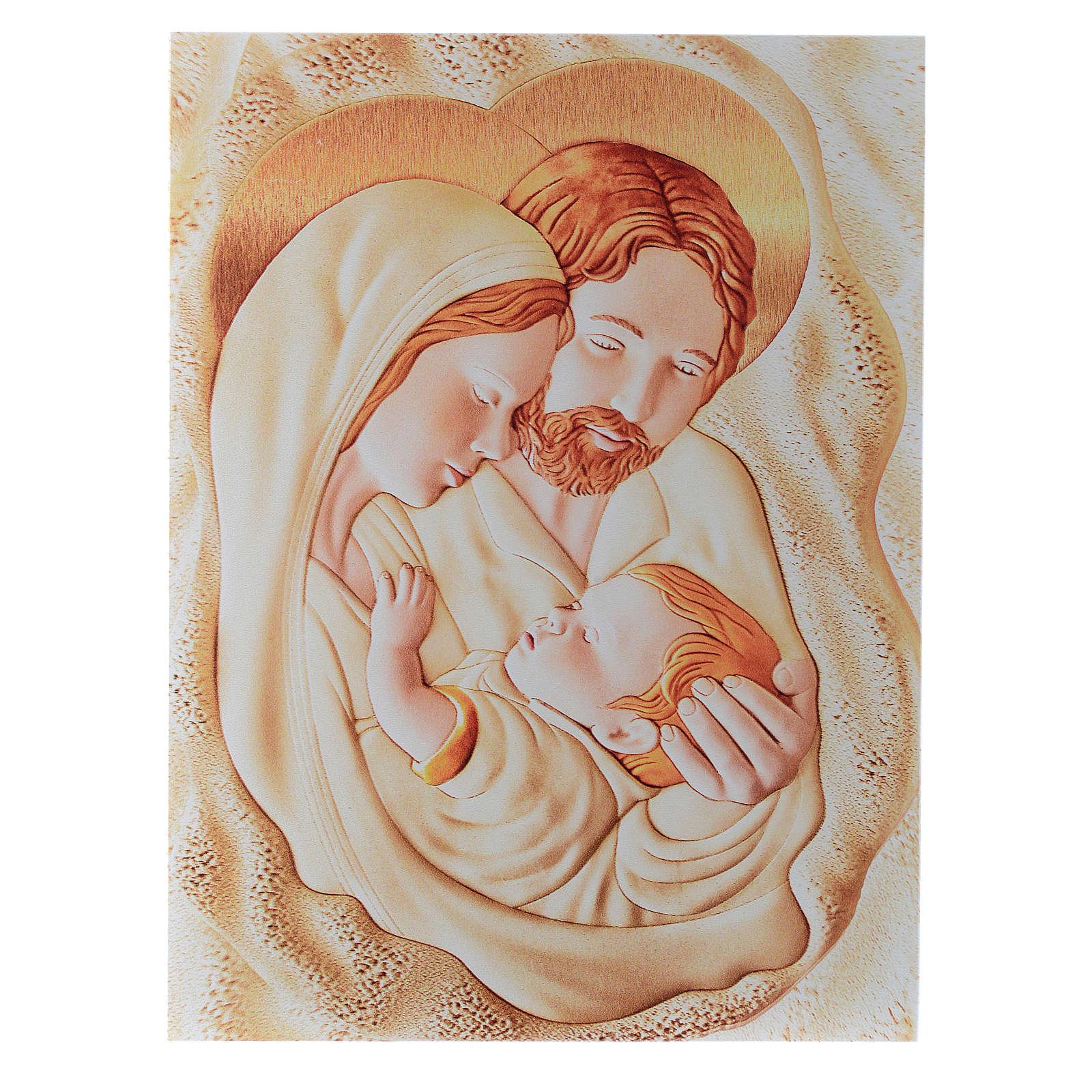 Painting Holy Family rectangular shaped 30x42cm 3