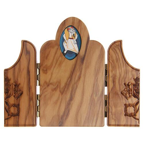 Triptychon von STOCK aus Olivenholz Gebet zum Außerordentlichen Jubiläum der Barmherzigkeit von Papst Franziskus 2