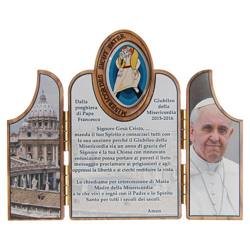 STOCK tryptych with image of the Jubilee of Mercy in olive wood 1