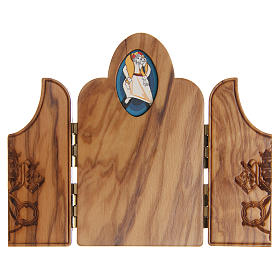 STOCK tryptych with image of the Jubilee of Mercy in olive wood s2