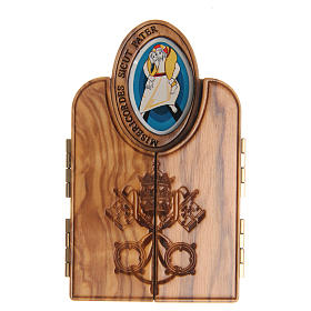 STOCK tryptych with image of the Jubilee of Mercy in olive wood s3