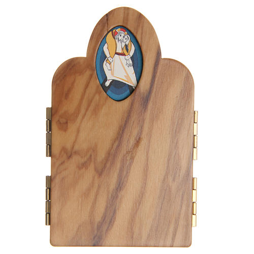 STOCK tryptych with image of the Jubilee of Mercy in olive wood 4