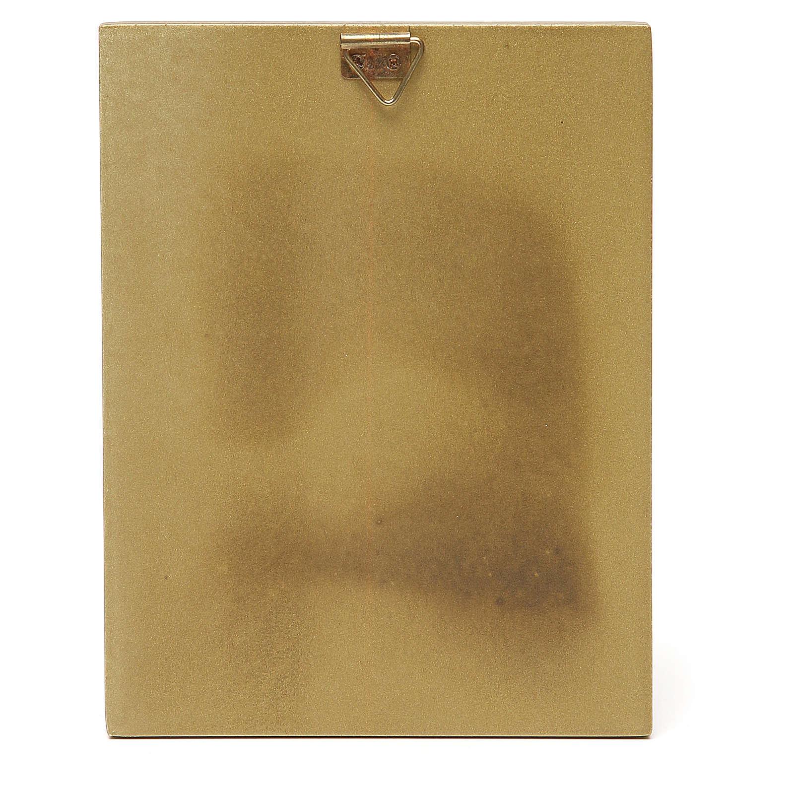 STOCK Quadretto legno Angelo bordo oro 14x11 cm 3