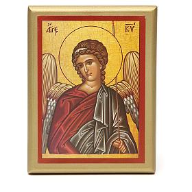 STOCK Quadretto legno Angelo bordo oro 14x11 cm s1