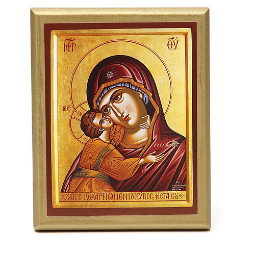 STOCK Small painting Virgin Mary red mantel golden border 14x11cm 1