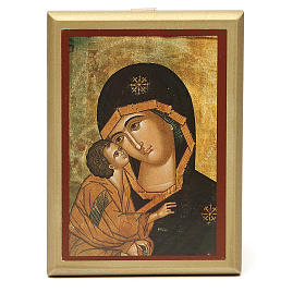 STOCK Small painting Our Lady of Vladimir golden border 14x11cm s1