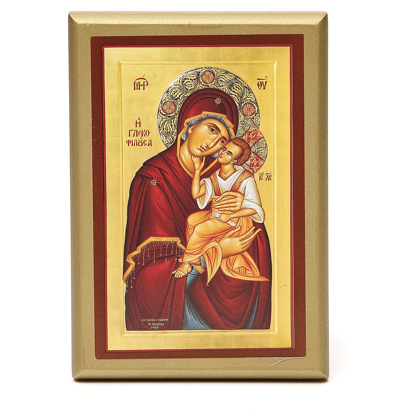 STOCK Quadretto legno Madonna con bimbo 15x10 cm 3
